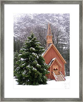 Yosemite Chapel In Winter Framed Print