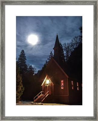 Yosemite Chapel Under A Full Moon Framed Print by Marc Crumpler