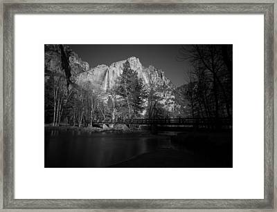 Yosemite Falls Along The Merced River Black And White Framed Print by Scott McGuire