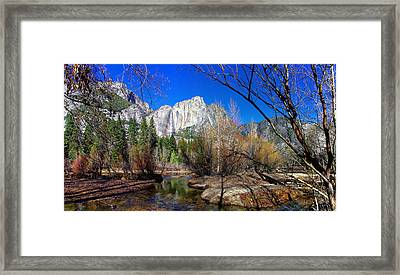 Yosemite Falls Along The Merced River Framed Print by Scott McGuire