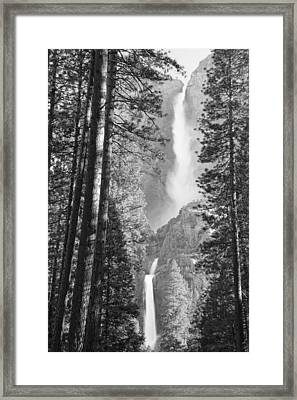 Yosemite Falls Black And White Framed Print by Bruce Gourley