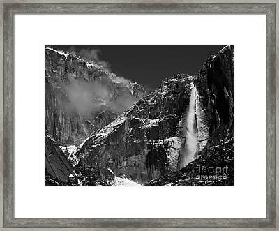 Yosemite Falls In Black And White Framed Print by Bill Gallagher