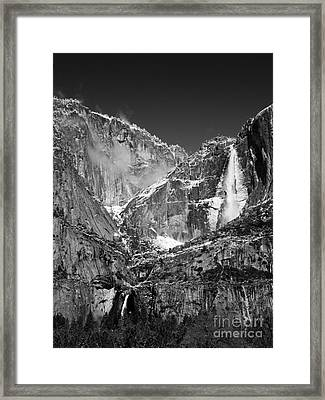 Yosemite Falls In Black And White II Framed Print by Bill Gallagher