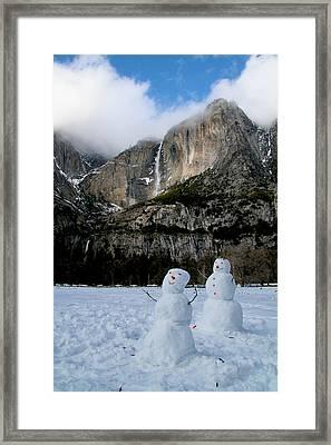 Yosemite Falls Snowmen Framed Print by Patricia Sanders