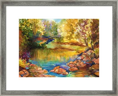 Yosemite Golden Trees On Still Waters Framed Print by Therese Fowler-Bailey