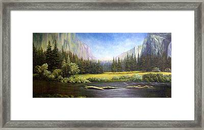 Framed Print featuring the painting Yosemite by Loxi Sibley