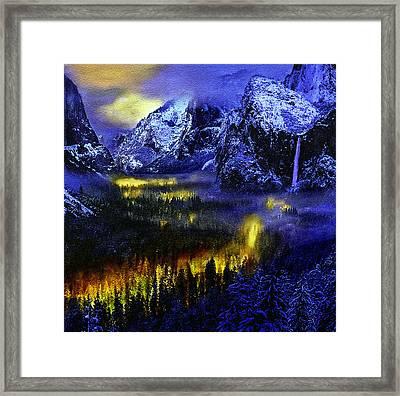 Yosemite Valley At Night Framed Print by Bob and Nadine Johnston