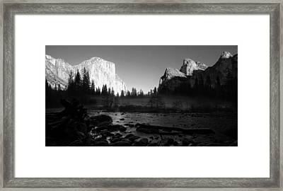 Yosemite Valley View Black And White Framed Print