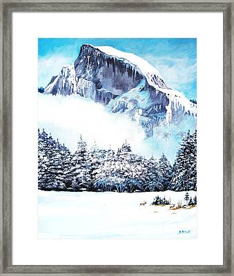 Framed Print featuring the painting Yosemite Winter by Al Brown