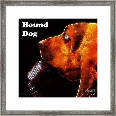You Ain't Nothing But A Hound Dog - Dark - Electric - With Text Framed Print by Wingsdomain Art and Photography