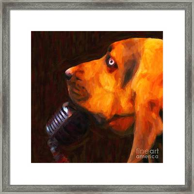 You Ain't Nothing But A Hound Dog - Dark - Painterly Framed Print by Wingsdomain Art and Photography