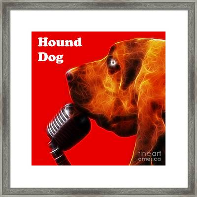 You Ain't Nothing But A Hound Dog - Red - Electric - With Text Framed Print by Wingsdomain Art and Photography