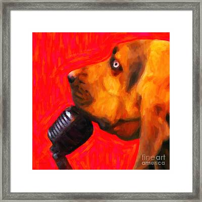 You Ain't Nothing But A Hound Dog - Red - Painterly Framed Print by Wingsdomain Art and Photography