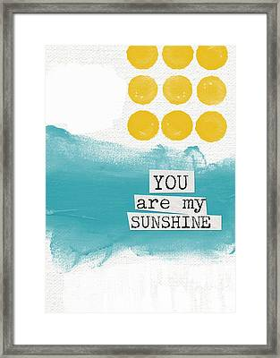You Are My Sunshine- Abstract Mod Art Framed Print by Linda Woods
