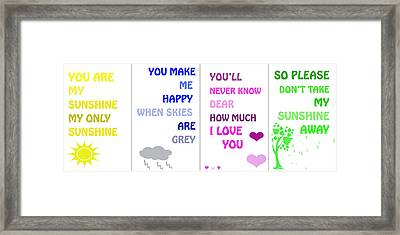 You Are My Sunshine Framed Print by Georgia Fowler