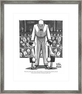 You Boys Know The Rules. No Low Blows Framed Print by Peter Arno
