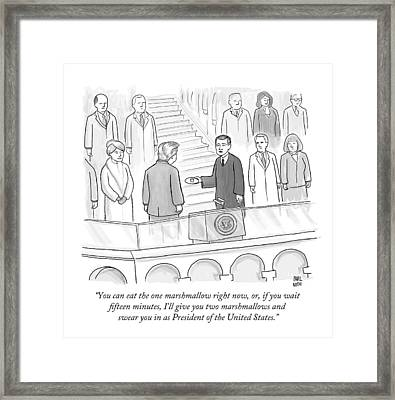 You Can Eat The One Marshmallow Right Now Framed Print by Paul Noth
