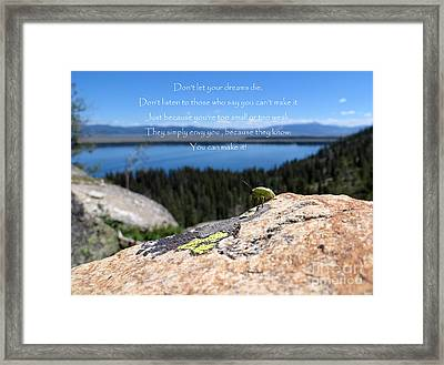 Framed Print featuring the photograph You Can Make It. Inspiration Point by Ausra Huntington nee Paulauskaite