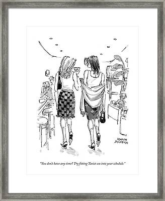 You Don't Have Any Time? Try Fitting Taoist Sex Framed Print by Marisa Acocella Marchetto
