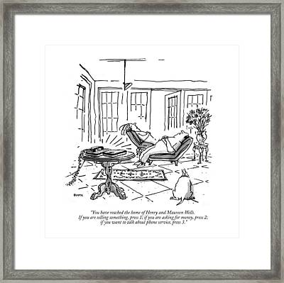You Have Reached The Home Of Henry And Maureen Framed Print by George Booth