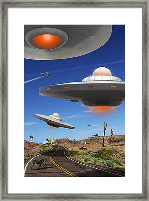 You Never Know What You Will See On Route 66 Framed Print by Mike McGlothlen