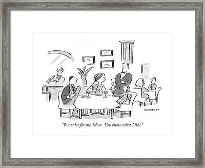 You Order Framed Print by Liza Donnelly