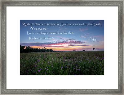 You Owe Me Framed Print by Bill Wakeley