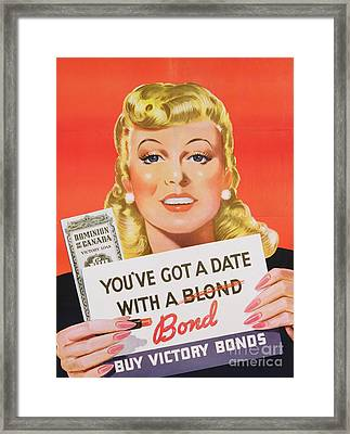 You Ve Got A Date With A Bond Poster Advertising Victory Bonds  Framed Print