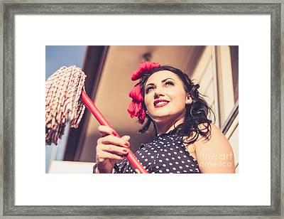 Young 50s Brunette Housewife Holding Red Mop Framed Print