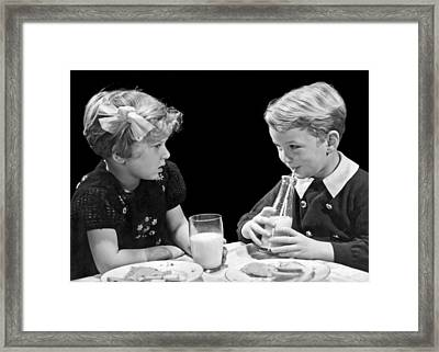 Young Admiration With Milk Framed Print by Underwood Archives