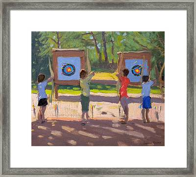 Young Archers Framed Print by Andrew Macara