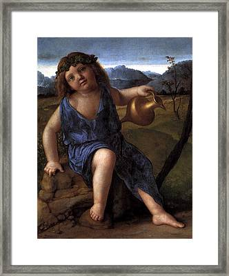 Framed Print featuring the painting Young Bacchus Dionysus Giovanni Bellini 1514 by Karon Melillo DeVega