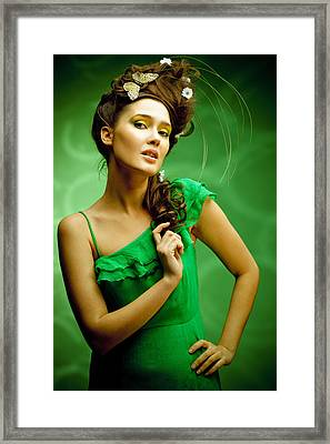 Young Beautiful Woman Portrait Framed Print