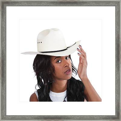 Young Black Woman In A Cowboy Hat. Framed Print by John Orsbun