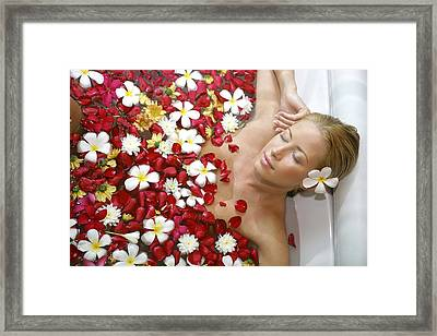 Young Blond Woman Relaxing In Beauty Framed Print by Tips Images