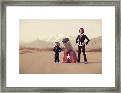 Young Boy And Woman Business Team With Framed Print by Richvintage