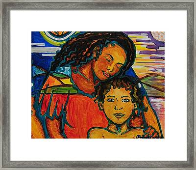 Young Boy In Calm Valley Framed Print by Arianne Lequay