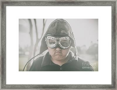 Young Boy Pilot. Battle Ready Framed Print