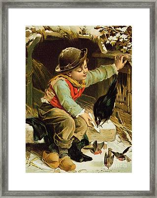 Young Boy With Birds In The Snow Framed Print by English School