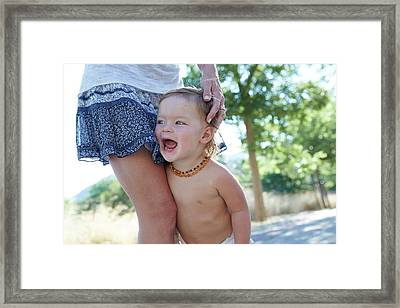 Young Boy With His Mother Framed Print by Ruth Jenkinson