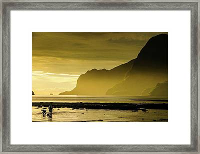 Young Boys Fishing At Sunset In The Bay Framed Print