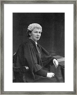 Young British Woman Judge Framed Print by Underwood Archives