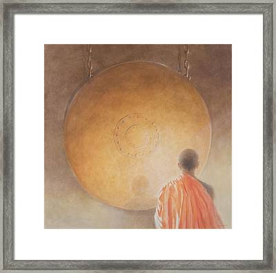 Young Buddhist Monk And Gong, Bhutan, 2010 Acrylic On Canvas Framed Print by Lincoln Seligman