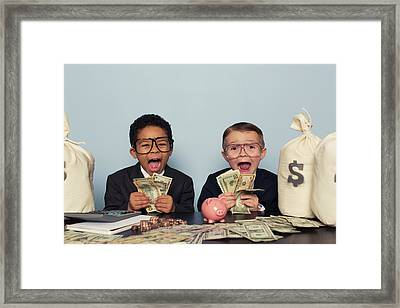Young Business Children Make Faces Framed Print by Richvintage
