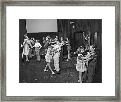 Young Child Actors In Hollywood Learning Folk Dancing At Their S Framed Print by Underwood Archives