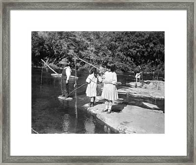 Young Children Fishing Framed Print by Underwood Archives