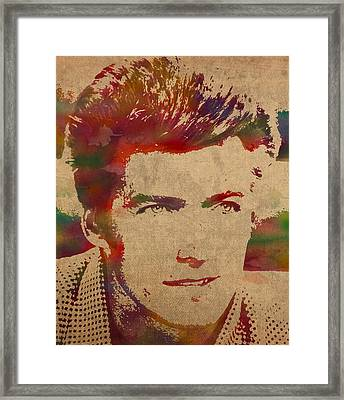 Young Clint Eastwood Actor Watercolor Portrait On Worn Parchment Framed Print