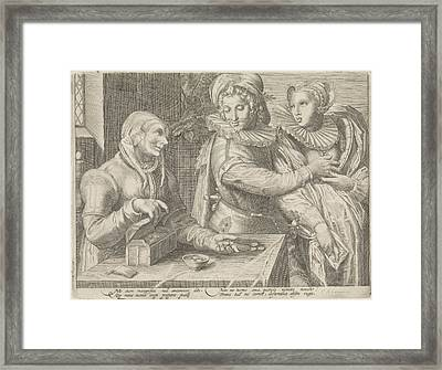 Young Couple And An Old Woman With Money Box Unequal Love Framed Print by Jan Saenredam And Hendrick Goltzius