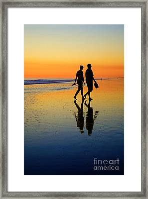 Young Couple On Romantic Beach At Sunset Framed Print