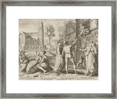 Young Couples Having Fun And Ignore The Warnings Framed Print by Jan Saenredam